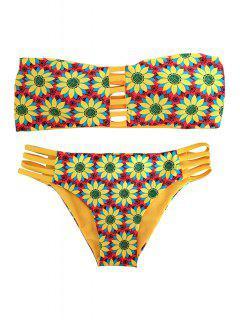 Girasol De Impresión Sin Tirantes Del Bikini Conjunto Reversible - Amarillo L