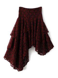 Bordado Floral De La Falda Asimétrica Del Color Sólido Del Cordón - Vino Rojo M