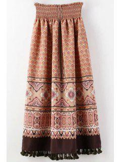 Retro Tassels High-Waist Chiffon Skirt - Red S