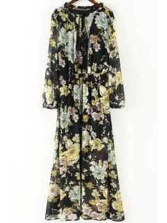 Fringe Floral Print Round Neck Long Sleeve Dress - Black L