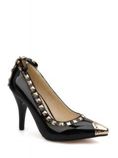 Rivet Bow Metallic Toe Pumps - Black 39