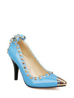 Rivet Bow Metallic Toe Pumps - Light Blue 39
