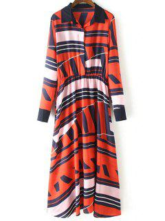Geometric Pattern Long Sleeve Swing Dress - Red L