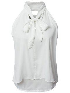 Double Couche Bow Collar Chemise Sans Manches - Blanc L