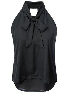 Double-Layered Bow Collar Sleeveless Shirt - Black M