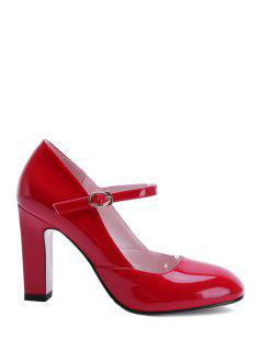 Buckle Ankle-Wrap Chunky Heel Pumps - Red 37