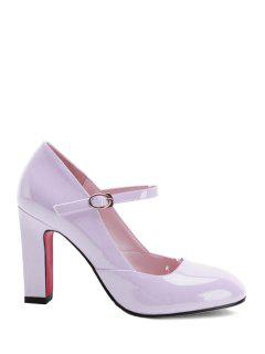 Buckle Ankle-Wrap Chunky Heel Pumps - Pink 39