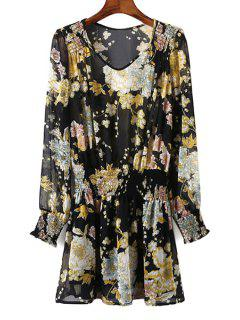 See-Through Con Cuello En V Manga Larga Vestido Floral Imprimir - Negro L