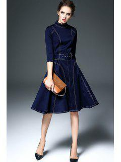 Deep Blue Stand Neck 3/4 Sleeve Denim Dress - Deep Blue Xl