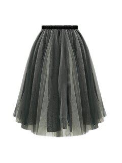 Ball Gown Voile Skirt - Black Grey Xl