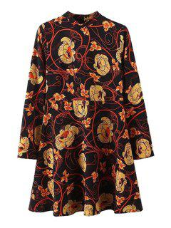 Floral Print Stand Collar Long Sleeve Dress - Black L