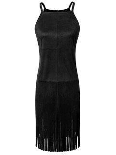 Tassels Spaghetti Straps Solid Color Suede Dress - Black L