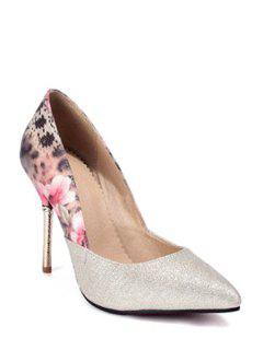 Splicing Floral Print Pointed Toe Pumps - Golden 39
