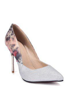 Splicing Floral Print Pointed Toe Pumps - Silver 39