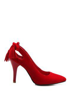 Tassels Hollow Out Pointed Toe Pumps - Red 34