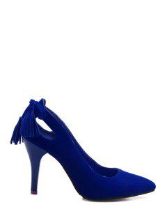 Tassels Hollow Out Pointed Toe Pumps - Blue 39