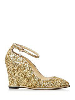 Pendant Sequins Ankle Strap Wedge Shoes - Golden 39