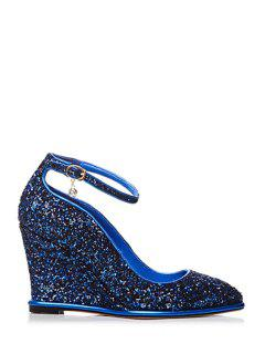 Pendant Sequins Ankle Strap Wedge Shoes - Blue 39