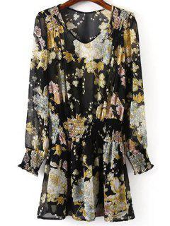 Blumendruck V-Ausschnitt Langarm Chiffon-Kleid - Schwarz L