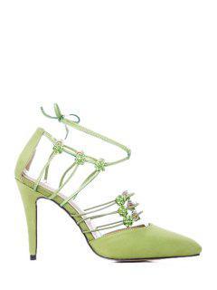 Cross-Strap Rhinestone Stiletto Heel Pumps - Apple Green 39