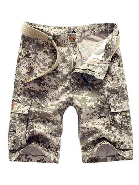 Style militaire Jambe droite Multi-Pocket Zipper Fly Camo Cargo Shorts pour hommes - Kaki 29 Mobile