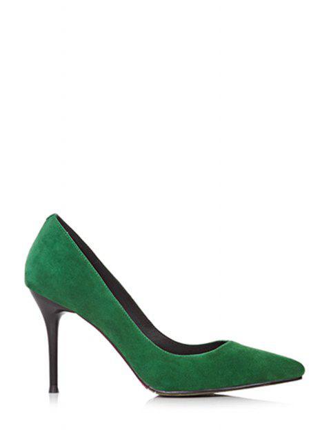 Einfarbige Spitzschuh Stiletto Pumps - Grün 38 Mobile