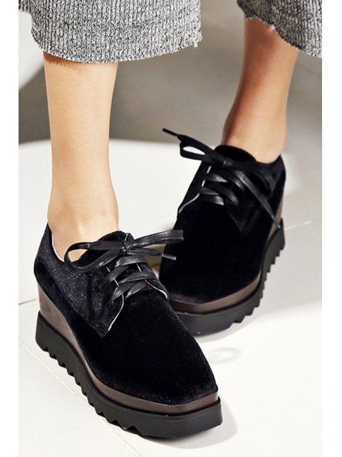 new Lace-Up Square Toe Platform Shoes -   Mobile