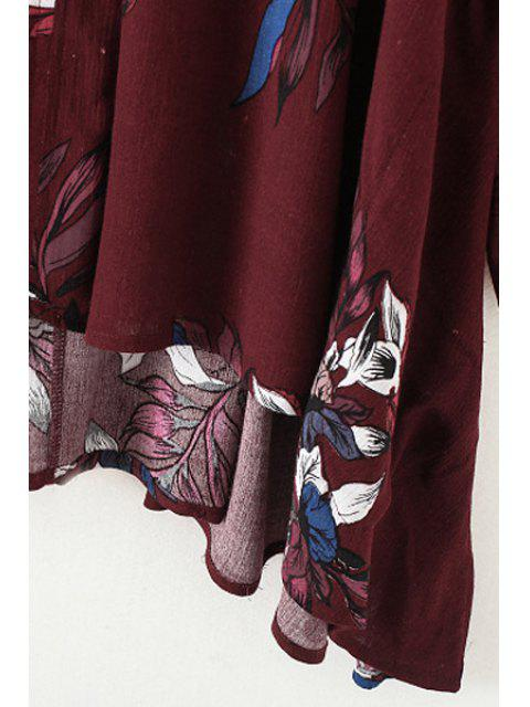 shop Cut Out Round Neck Long Sleeve Floral Print Blouse - WINE RED S Mobile