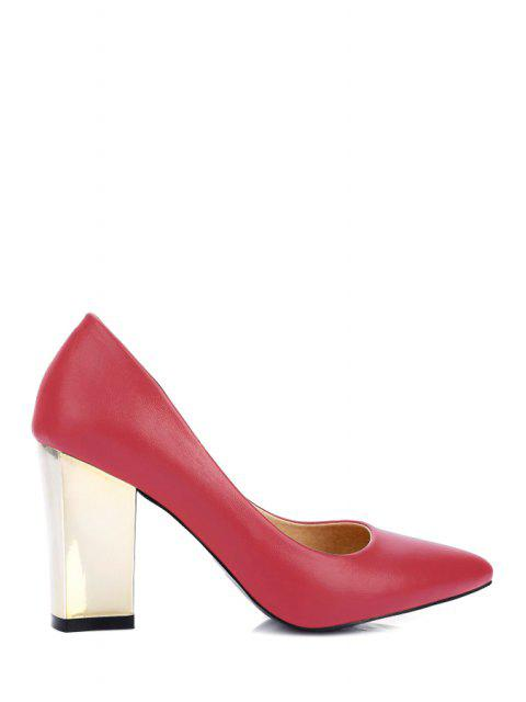 womens Pointed Toe Metal Chunky Heel Pumps - RED 38 Mobile