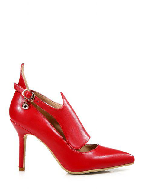 women's Buckle Solid Color Pointed Toe Pumps -   Mobile