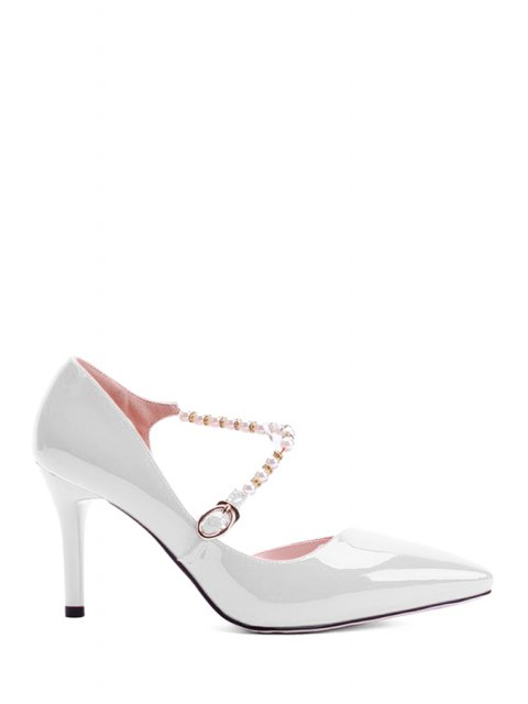 women Solid Color Beading Stiletto Heel Pumps - WHITE 37 Mobile