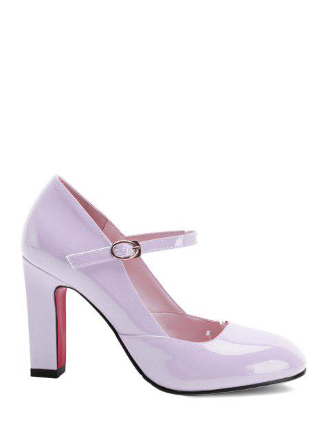 hot Buckle Ankle-Wrap Chunky Heel Pumps - PINK 36 Mobile