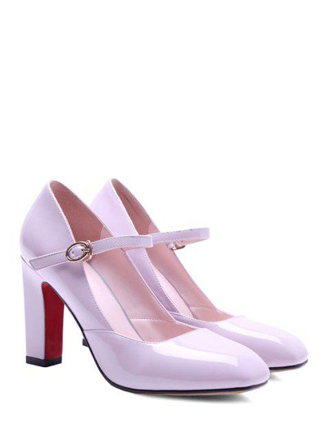 shops Buckle Ankle-Wrap Chunky Heel Pumps - PINK 39 Mobile