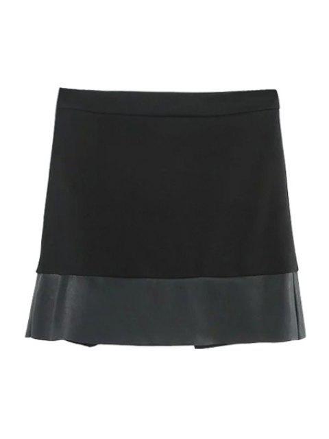 affordable Asymmetric PU Leather Spliced Side Zipper Skirt - BLACK M Mobile