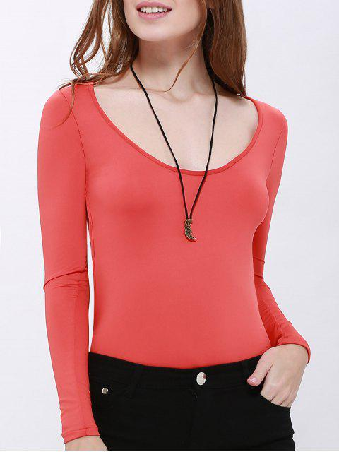 women Solid Color Hollow Back Bodysuit - RED S Mobile