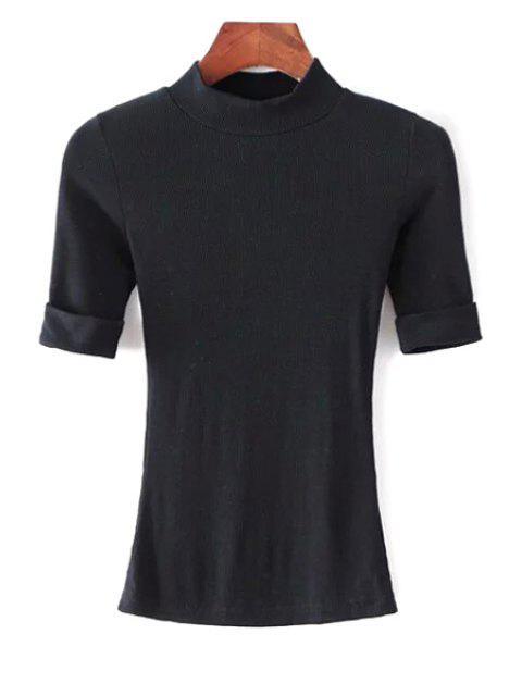 unique Thread Solid Color Round Neck Short Sleeve T-Shirt - BLACK S Mobile