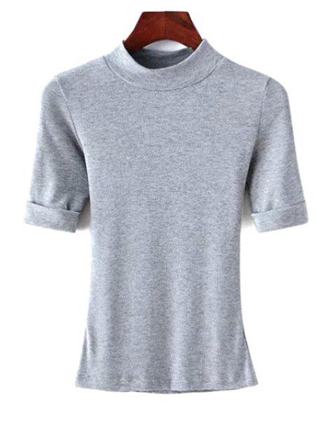 chic Thread Solid Color Round Neck Short Sleeve T-Shirt - GRAY S Mobile