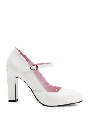 Buckle Ankle-Wrap Chunky Heel Pumps