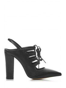 Buy Hollow Slingback Lace-Up Sandals - BLACK 34
