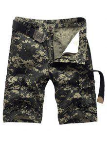 Style Militaire Jambe Droite Multi-Pocket Zipper Fly Camo Cargo Shorts Pour Hommes - Vert Armée 33