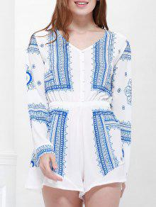 Buttoned Long Sleeve Printed Playsuit - Blue And White Xl