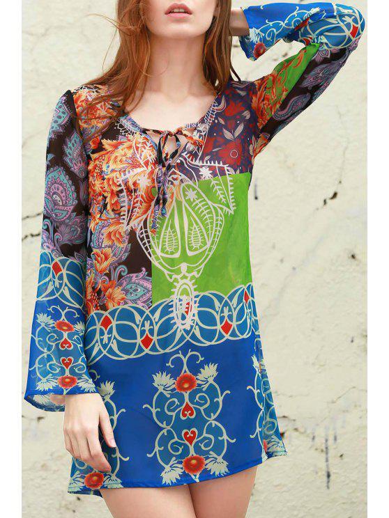 shop Plunging Neck Bohemian Print Dress - BLUE XL