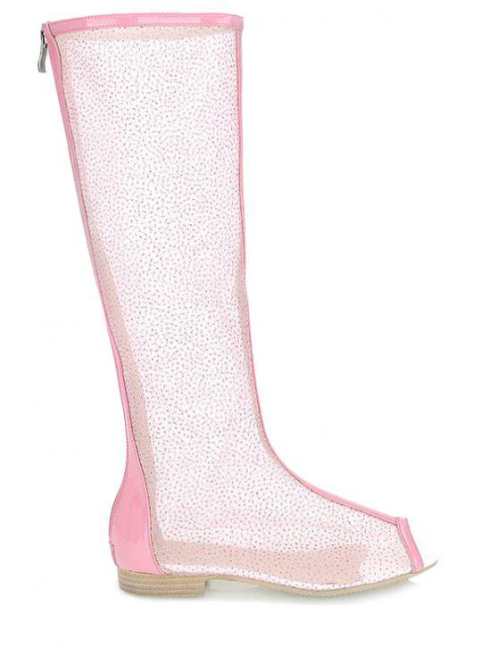 lady Flat Heel Splicing Gauze Peep Toe Shoes - PINK 34