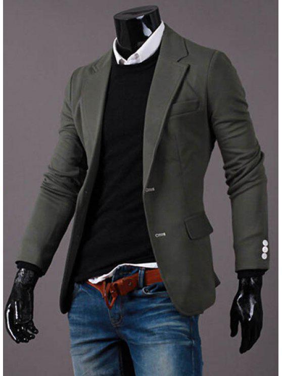Turn-Down-Kragen Solid Color Taste verschönert Cuffs Langarm-Blazer der Männer - Grün 2XL