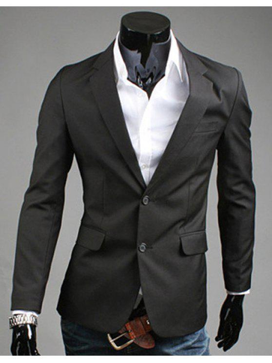 Turn-Down-Kragen Solid Color Slit Design Long Sleeve Blazer der Männer - Schwarz L