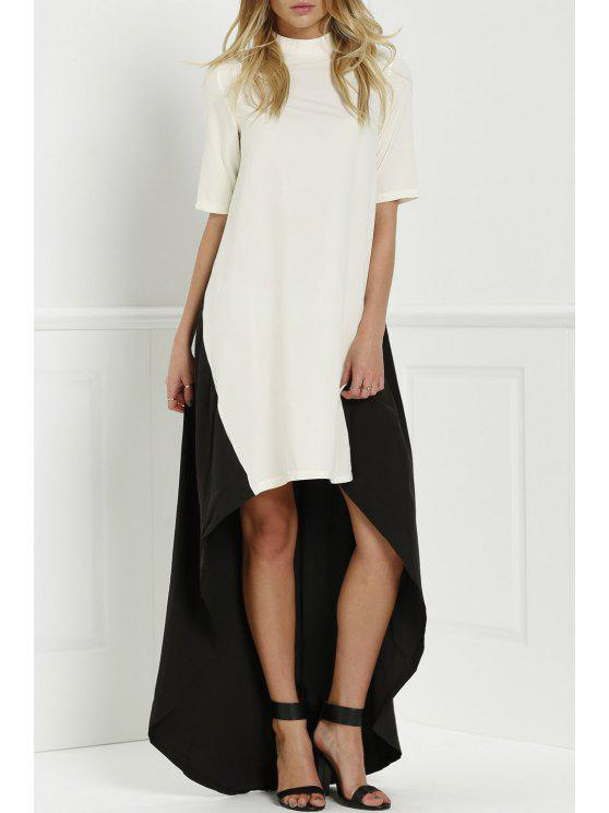 hot Round Neck Color Block Splicing Dress - WHITE AND BLACK M
