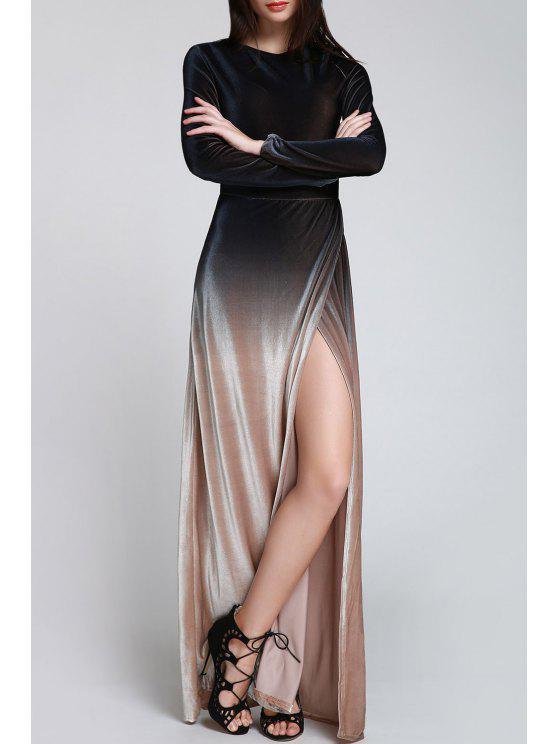 High Slit Ombre Maxi Velvet Dress - Noir S