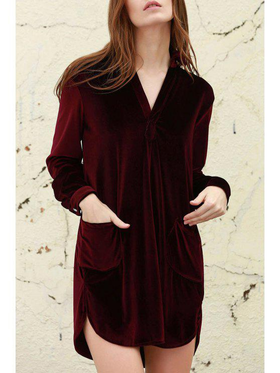 a0648263 36% OFF] 2019 Loose Velvet Shirt Dress In WINE RED | ZAFUL