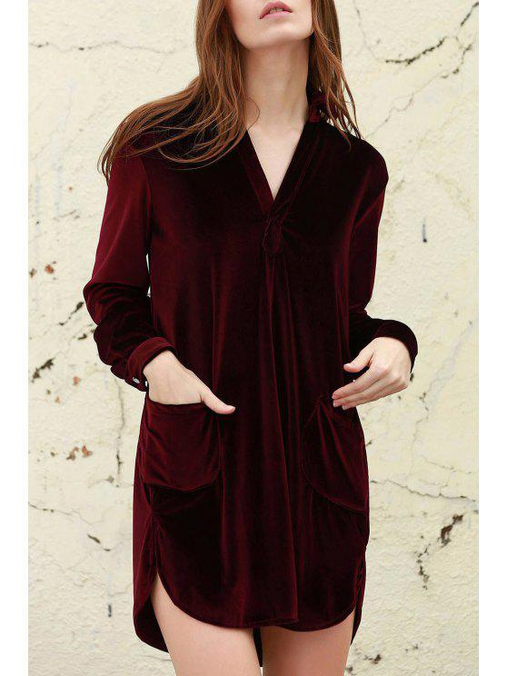 ladies Loose Velvet Shirt Dress - WINE RED L