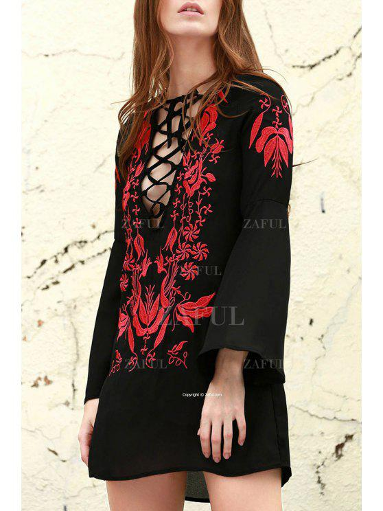 hot Floral Embroidered Plunging Neck Long Sleeve Dress - BLACK S